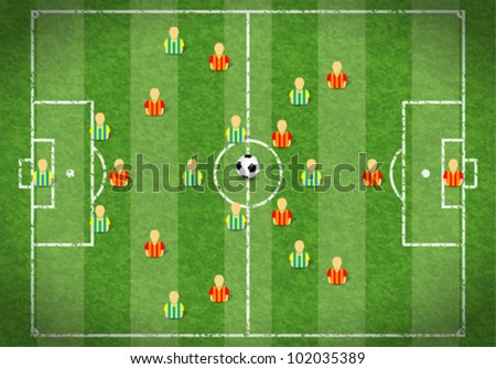 Football Field with Marking, Icon Soccer Player and Ball, vector illustration - stock vector