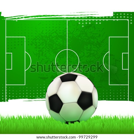 football field with soccer ball in vintage style - stock vector