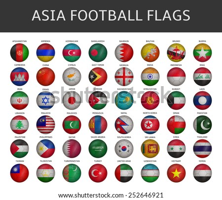 football flag of asia states vector set - stock vector