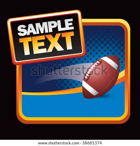 football flying on halftone background - stock vector