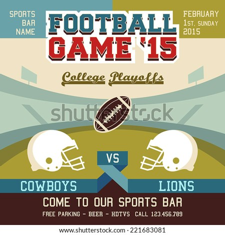 Football game college playoffs sports event poster - stock vector