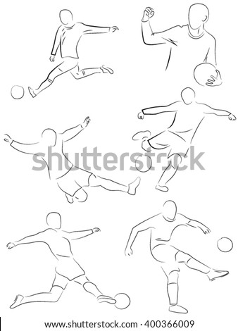football game, hitting the ball, athletes - stock vector