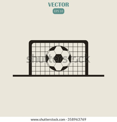 Football gate and ball vector icon. Soccer Sport goalkeeper symbol
