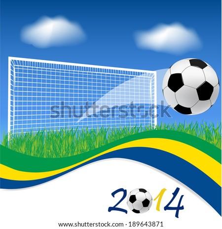 Football goal and soccer ball on grass  - stock vector
