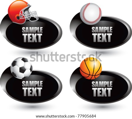 Football helmet, baseball, soccer ball, and basketball in a silver swoosh banner - stock vector