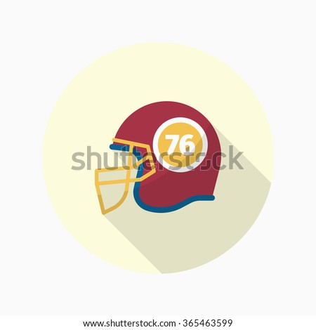 Football helmet flat  icon with long shadow,eps10 - stock vector