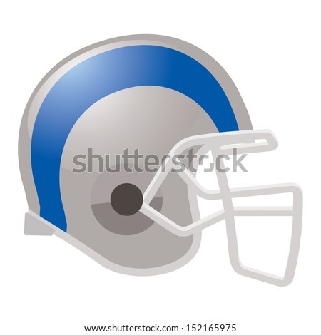 football helmet in white color with blue stripe