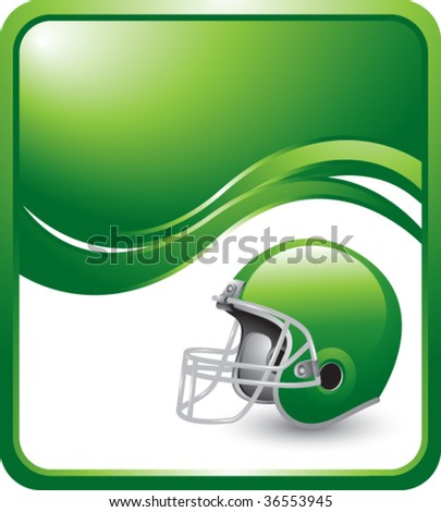 football helmet on green wave background - stock vector