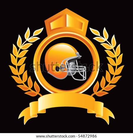 football helmet orange royal display - stock vector