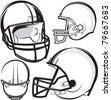 Football Helmets - stock photo