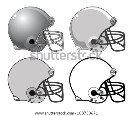 Football Helmets is an illustration of a four football helmets used in American type football. They range from complex to a very simple black and white image. - stock vector