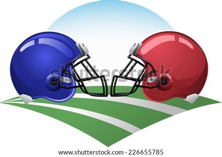 Football helmets on a green field - stock vector