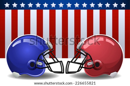 Football helmets with american flag - stock vector