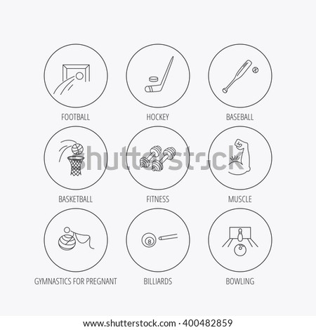 Football, ice hockey and fitness sport icons. Basketball, muscle and bowling linear signs. Billiards and gymnastics for pregnant icons. Linear colored in circle edge icons. - stock vector