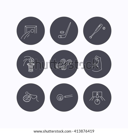 Football, ice hockey and fitness sport icons. Basketball, muscle and bowling linear signs. Billiards and gymnastics for pregnant icons. Flat icons in circle buttons on white background. Vector - stock vector