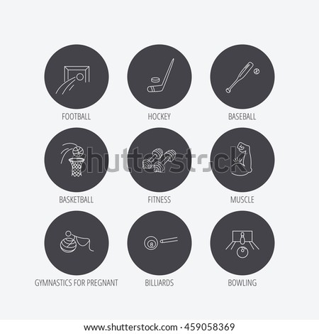 Football, ice hockey and fitness sport icons. Basketball, muscle and bowling linear signs. Billiards and gymnastics for pregnant icons. Linear icons in circle buttons. Flat web symbols. Vector - stock vector