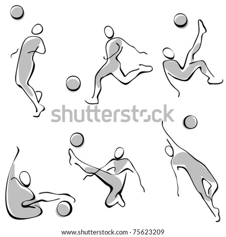 football icons. a set of gray figures. - stock vector