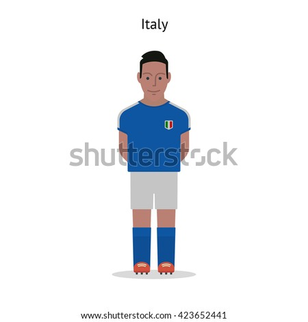Football kit. Italy soccer player form.