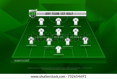football league or world tournament broadcast graphic template design, football graphic for soccer starting lineup squad. vector