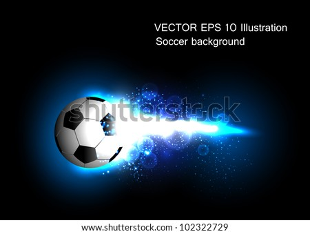 football light banner with a soccer ball - stock vector
