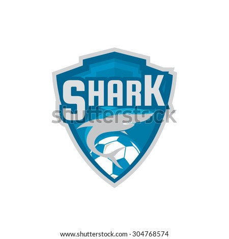 football logo design blue shark soccer stock vector royalty free