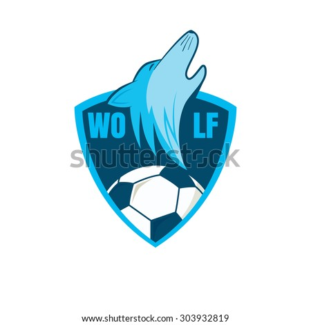 Wolf Playing Football Football Logo Design With Wolf