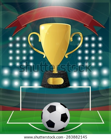 Football Match Day poster template with golden cup and banner - stock vector