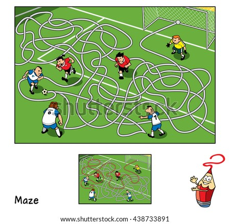 Football match. Educational maze game for children. Vector illustration