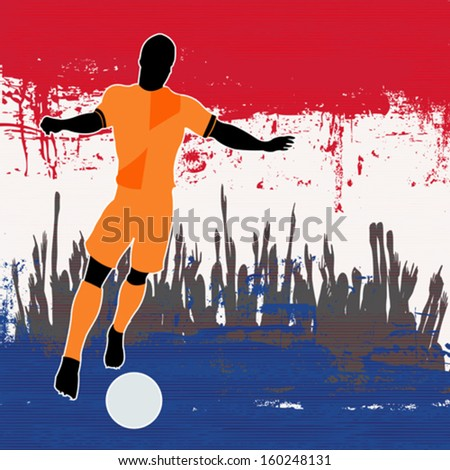 Football Netherlands, Vector Soccer player over a grunged Dutch Flag and cheering crowd - stock vector