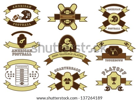 football of america art design set - stock vector