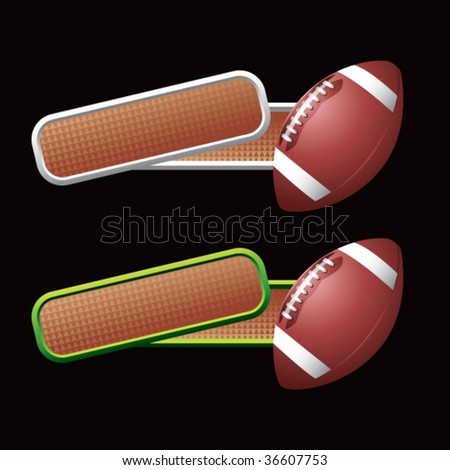 football on colored tilted banners - stock vector