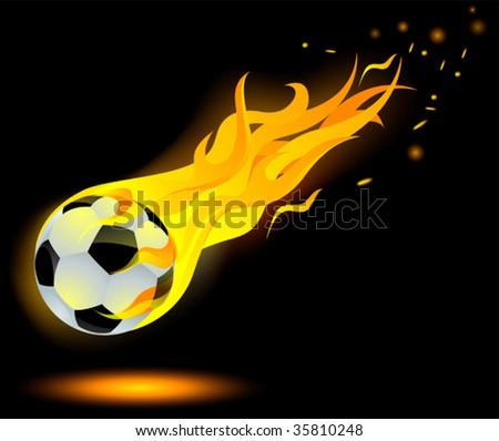 football on fire - stock vector