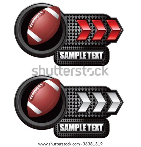 football on glossy arrow web button - stock vector