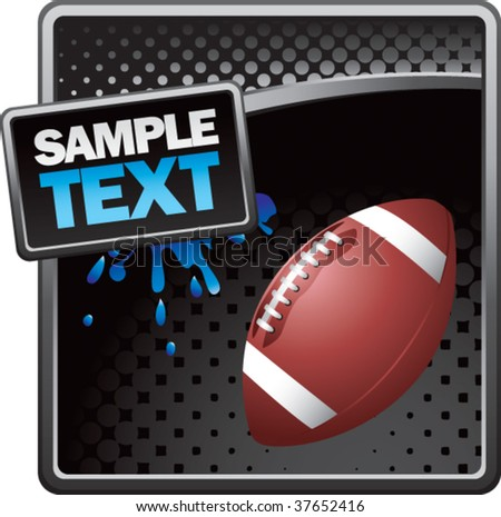 football on grunge style splat background colored blue - stock vector