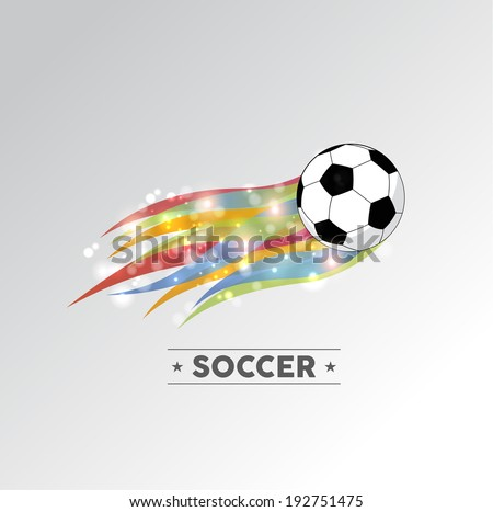 Football or soccer ball in color flames design element. EPS10 vector file with transparency layers. - stock vector