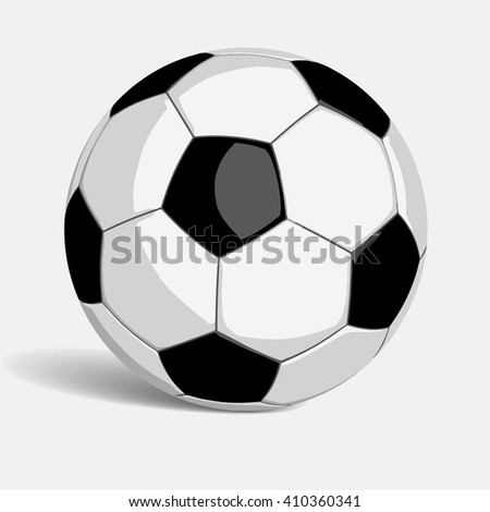 Football or soccer ball in vector format isolated on white background. Black and white color and shadow added. Clipping path included for easy selection if needed.  - stock vector