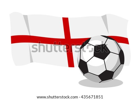Football or soccer ball with english flag on white background. World cup. Cartoon ball. Concept of championship, league, team sport. Game for kids and adults. Cheering and sport fans concept. - stock vector