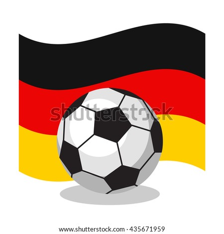 Football or soccer ball with german flag on white background. World cup. Cartoon ball. Concept of championship, league, team sport. Game for kids and adults. Cheering and sport fans concept. - stock vector