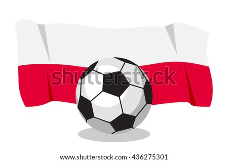 Football or soccer ball with polish flag on white background. World cup. Cartoon ball. Concept of championship, league, team sport. Game for kids and adults. Cheering and sport fans concept. - stock vector