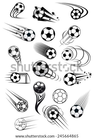 Football or soccer balls with motion trails in black and white for sporting emblems, logo and mascot design - stock vector
