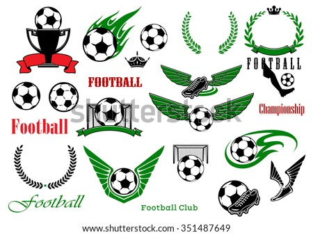 Football or soccer sport game heraldic elements with balls, trophy, shoes, laurel wreaths, gates, text, ribbon banners, crowns, wings and fire flames - stock vector