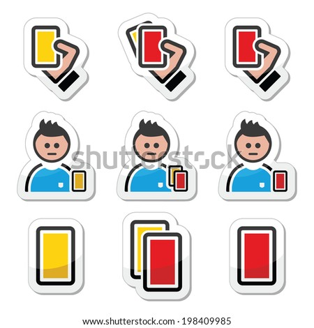 Football or soccer yellow and red card icons set - stock vector