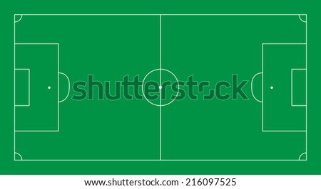 football pitch layout - white lines on green - vector - stock vector