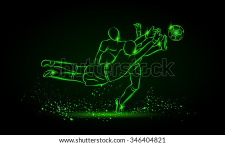 Football player and goalkeeper fighting for the ball. Neon style sport illustration. - stock vector