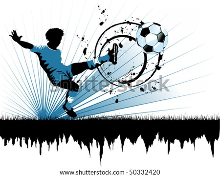 football player attack gate of the opponent (vector and illustration);