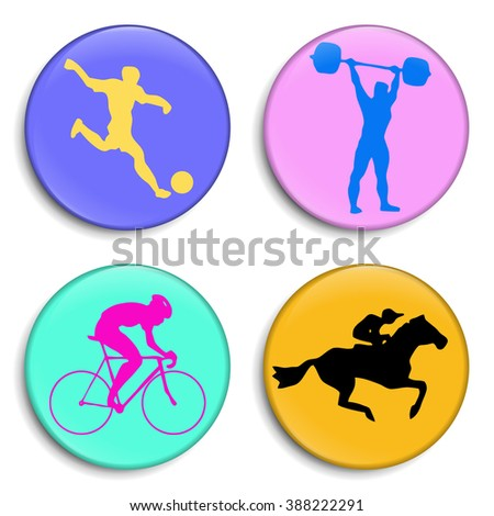 Football player. Bicyclist. Weightlifter. Horseman. Silhouettes athletes. Sport Stick Figure. Sport 3D Buttons. Modern style. Color medals Summer sports game series labels, logo, badges, icons. Vector - stock vector