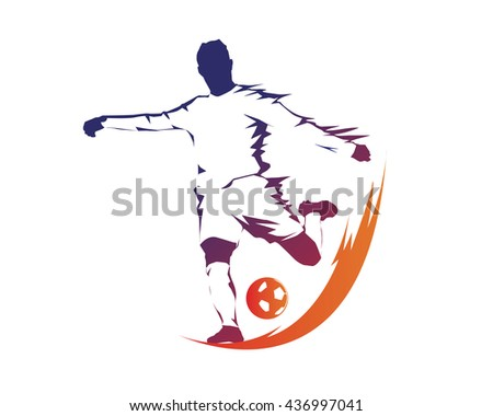 Football Player In Action Logo -  Aggressive On Fire Kick - stock vector