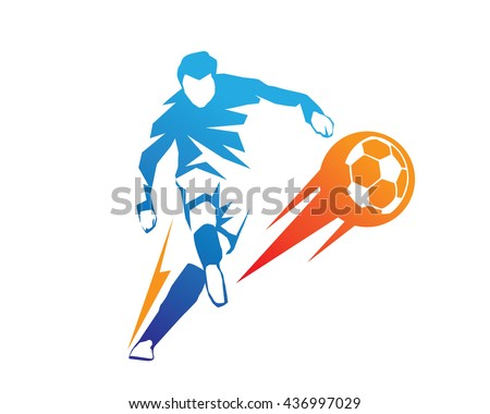 Football Player In Action Logo - Ball On Fire Penalty Kick - stock vector