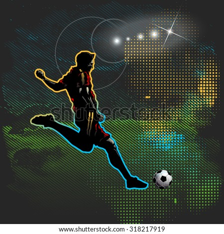 Football player kicks the ball, soccer - stock vector