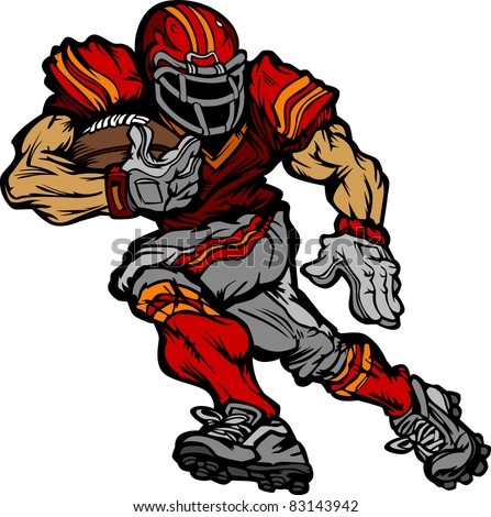 football player running back cartoon